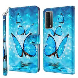 Blue Sea Butterflies 3D Painted Leather Wallet Case for Huawei P smart 2021 / Y7a