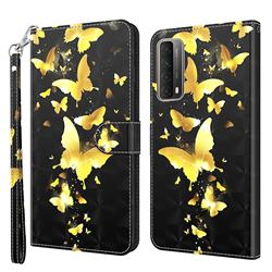 Golden Butterfly 3D Painted Leather Wallet Case for Huawei P smart 2021 / Y7a