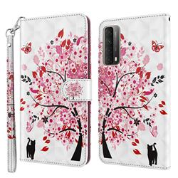 Tree and Cat 3D Painted Leather Wallet Case for Huawei P smart 2021 / Y7a