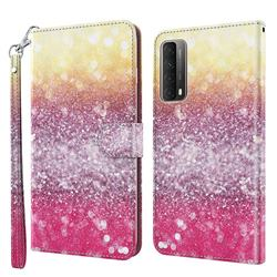 Gradient Rainbow 3D Painted Leather Wallet Case for Huawei P smart 2021 / Y7a