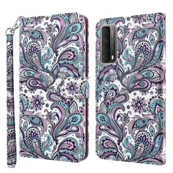 Swirl Flower 3D Painted Leather Wallet Case for Huawei P smart 2021 / Y7a