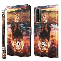 Fantasy Lion 3D Painted Leather Wallet Case for Huawei P smart 2021 / Y7a