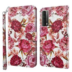Red Flower 3D Painted Leather Wallet Case for Huawei P smart 2021 / Y7a