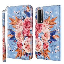 Rose Flower 3D Painted Leather Wallet Case for Huawei P smart 2021 / Y7a