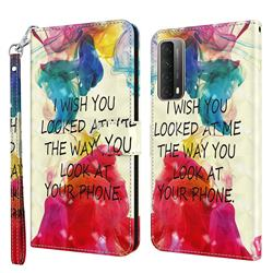 Look at Phone 3D Painted Leather Wallet Case for Huawei P smart 2021 / Y7a