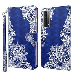 White Lace 3D Painted Leather Wallet Case for Huawei P smart 2021 / Y7a