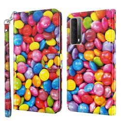 Colorful Jelly Beans 3D Painted Leather Wallet Case for Huawei P smart 2021 / Y7a
