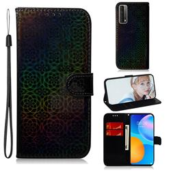 Laser Circle Shining Leather Wallet Phone Case for Huawei P smart 2021 / Y7a - Black