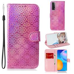 Laser Circle Shining Leather Wallet Phone Case for Huawei P smart 2021 / Y7a - Pink