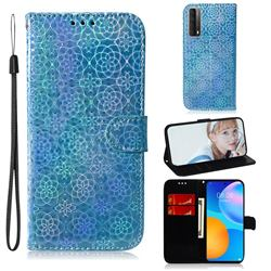 Laser Circle Shining Leather Wallet Phone Case for Huawei P smart 2021 / Y7a - Blue