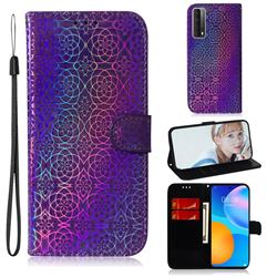 Laser Circle Shining Leather Wallet Phone Case for Huawei P smart 2021 / Y7a - Purple
