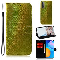 Laser Circle Shining Leather Wallet Phone Case for Huawei P smart 2021 / Y7a - Golden