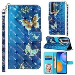 Rankine Butterfly 3D Leather Phone Holster Wallet Case for Huawei P smart 2021 / Y7a