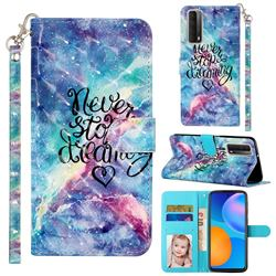 Blue Starry Sky 3D Leather Phone Holster Wallet Case for Huawei P smart 2021 / Y7a