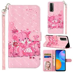 Pink Bear 3D Leather Phone Holster Wallet Case for Huawei P smart 2021 / Y7a
