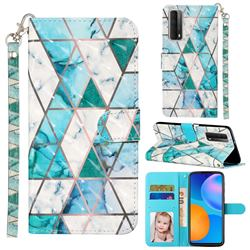 Stitching Marble 3D Leather Phone Holster Wallet Case for Huawei P smart 2021 / Y7a