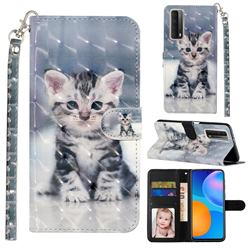 Kitten Cat 3D Leather Phone Holster Wallet Case for Huawei P smart 2021 / Y7a