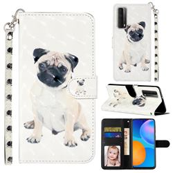 Pug Dog 3D Leather Phone Holster Wallet Case for Huawei P smart 2021 / Y7a