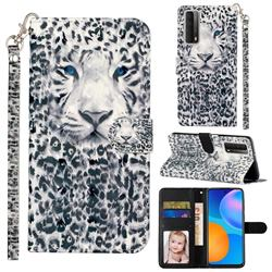 White Leopard 3D Leather Phone Holster Wallet Case for Huawei P smart 2021 / Y7a