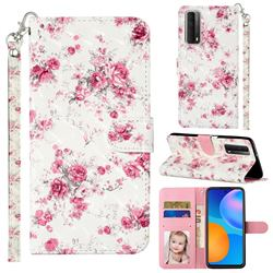 Rambler Rose Flower 3D Leather Phone Holster Wallet Case for Huawei P smart 2021 / Y7a