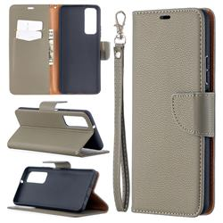 Classic Luxury Litchi Leather Phone Wallet Case for Huawei P smart 2021 / Y7a - Gray
