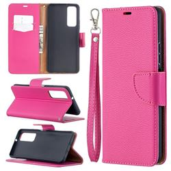 Classic Luxury Litchi Leather Phone Wallet Case for Huawei P smart 2021 / Y7a - Rose