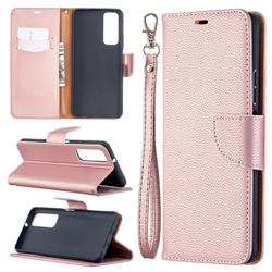 Classic Luxury Litchi Leather Phone Wallet Case for Huawei P smart 2021 / Y7a - Golden