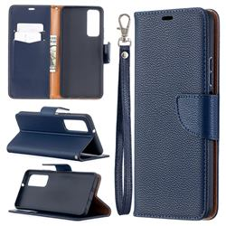 Classic Luxury Litchi Leather Phone Wallet Case for Huawei P smart 2021 / Y7a - Blue