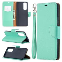Classic Luxury Litchi Leather Phone Wallet Case for Huawei P smart 2021 / Y7a - Green