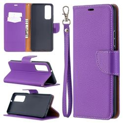 Classic Luxury Litchi Leather Phone Wallet Case for Huawei P smart 2021 / Y7a - Purple