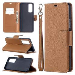 Classic Luxury Litchi Leather Phone Wallet Case for Huawei P smart 2021 / Y7a - Brown