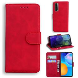 Retro Classic Skin Feel Leather Wallet Phone Case for Huawei P smart 2021 / Y7a - Red