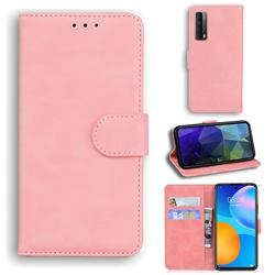 Retro Classic Skin Feel Leather Wallet Phone Case for Huawei P smart 2021 / Y7a - Pink