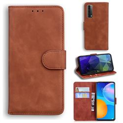 Retro Classic Skin Feel Leather Wallet Phone Case for Huawei P smart 2021 / Y7a - Brown