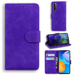 Retro Classic Skin Feel Leather Wallet Phone Case for Huawei P smart 2021 / Y7a - Purple