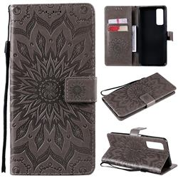 Embossing Sunflower Leather Wallet Case for Huawei P smart 2021 / Y7a - Gray