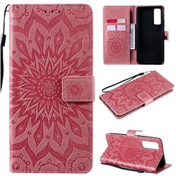 Embossing Sunflower Leather Wallet Case for Huawei P smart 2021 / Y7a - Pink