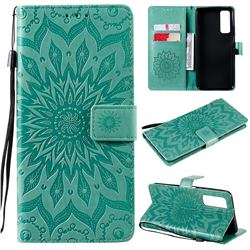 Embossing Sunflower Leather Wallet Case for Huawei P smart 2021 / Y7a - Green
