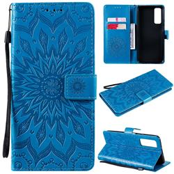 Embossing Sunflower Leather Wallet Case for Huawei P smart 2021 / Y7a - Blue