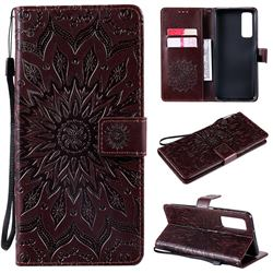 Embossing Sunflower Leather Wallet Case for Huawei P smart 2021 / Y7a - Brown