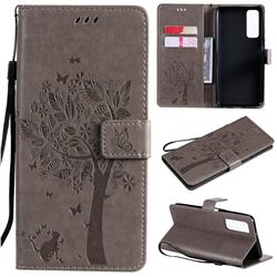 Embossing Butterfly Tree Leather Wallet Case for Huawei P smart 2021 / Y7a - Grey