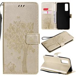 Embossing Butterfly Tree Leather Wallet Case for Huawei P smart 2021 / Y7a - Champagne