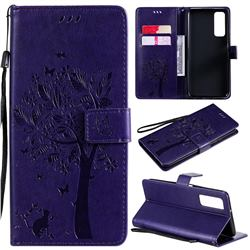 Embossing Butterfly Tree Leather Wallet Case for Huawei P smart 2021 / Y7a - Purple