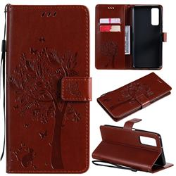 Embossing Butterfly Tree Leather Wallet Case for Huawei P smart 2021 / Y7a - Coffee