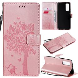 Embossing Butterfly Tree Leather Wallet Case for Huawei P smart 2021 / Y7a - Rose Pink
