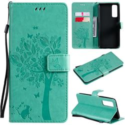 Embossing Butterfly Tree Leather Wallet Case for Huawei P smart 2021 / Y7a - Cyan