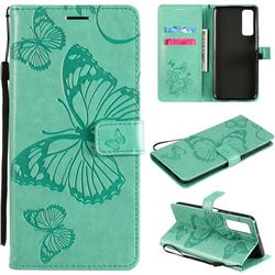 Embossing 3D Butterfly Leather Wallet Case for Huawei P smart 2021 / Y7a - Green