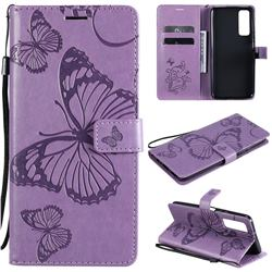 Embossing 3D Butterfly Leather Wallet Case for Huawei P smart 2021 / Y7a - Purple