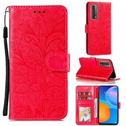 Intricate Embossing Lace Jasmine Flower Leather Wallet Case for Huawei P smart 2021 / Y7a - Red