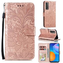 Intricate Embossing Lace Jasmine Flower Leather Wallet Case for Huawei P smart 2021 / Y7a - Rose Gold
